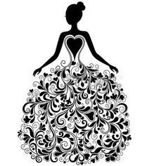 Vector silhouette of young woman in elegant wedding dress. Free art print of Vector silhouette of young woman in dress. Elegant Wedding Dress, Wedding Dresses, Free Art Prints, Silhouette Art, Button Art, Clipart, Vector Free, Vector Vector, Vector Stock