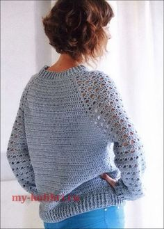 New Crochet Sweater Pattern Pullover Jumpers Ideas Blouse Au Crochet, Crochet Jumper, Crochet Jacket, Crochet Baby, Knit Crochet, Crochet Shawl, Crochet Stitches, Crochet Patterns, Knitting Patterns