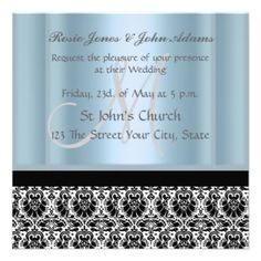 Discount DealsDamask Wedding Invitation black and Sky Blue Custom Announcementyou will get best price offer lowest prices or diccount coupone Damask Wedding, Blue Wedding, Wedding Day, Discount Wedding Invitations, Black Wedding Invitations, Rosie Jones, White Envelopes, Shades Of Blue, Color Schemes