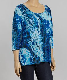 Take a look at this Royal Blue Cheetah Keyhole-Back Top - Plus by Avital on #zulily today!