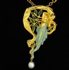 Masriera Art Nouveau 18K Enamel Nymph Necklace Pendant