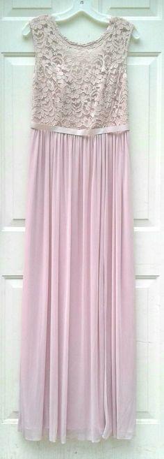 David's Bridal Bridesmaid Long Dress Women Size 8 Cameo Sleeveless Illusion Lace Davids Bridal Bridesmaid Dresses, Illusion, Bodice, Weddings, Lace, Pink, Ebay, Color, Women