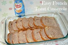 French Toast Caserole - I used sunflower seed gf bread - very nutty and yummy and I didn't add the sugar and didn't miss it at all.
