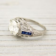 1.64 Carat Old European Cut Diamond and Sapphire Vintage Engagement Ring | New York Vintage & Antique Estate Jewelry – Erstwhile Jewelry Co NY