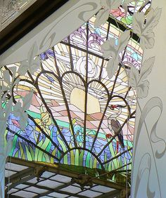 Art nouveau dome with stained glass, view through the windows with etched glass, winter garden of the Ursulines, Onze-Lieve-Vrouw-Waver, Belgium