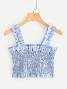 Frill Trim Pleated Crop Top Women Clothes For Cheap, Collections, Styles Perfectly Fit You, Never Miss It! Girls Fashion Clothes, Teen Fashion Outfits, Mode Outfits, Girly Outfits, Pretty Outfits, Cute Summer Outfits, Cute Casual Outfits, Cute Crop Tops, Kids Crop Tops