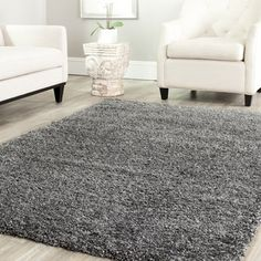 Safavieh Cozy Solid Dark Grey Shag Rug | Overstock.com Shopping - Great Deals on Safavieh 7x9 - 10x14 Rugs
