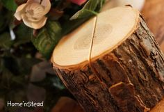 Rustic Wedding Log Table Number Stand Place Card by HomenStead, $3.00