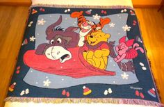 Classic Winnie Pooh Tapestry Blanket Disney Xmas Afghan Throw Winter Holiday  #Disney #Holiday
