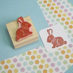 Chocolate Bunny Rabbit Stamp - Hand Carved Rubber Stamp