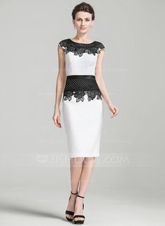 [US$ 125.99] Sheath/Column Scoop Neck Knee-Length Mother of the Bride Dress With Appliques Lace (008080191)