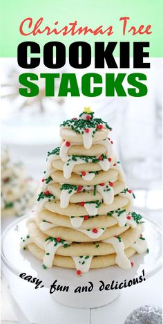 Christmas Tree Cookie Stacks | Delicious piled-high stacks of cookies that are quick, easy and fun! This is a sweet treat for Christmas! Pretty darn easy and totally fun to share and eat! Your kids will probably love this amazing homemade delicious dessert! For more simple and easy dessert recipes to make, check us out at #iambaker. #cakes #desserts #sweettooth