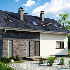 Dom z poddaszem użytkowym, dach dwuspadowy, pokój na parterze...