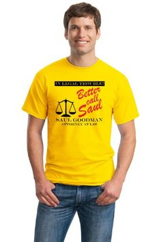 A graphic tee featuring an ad for everyone's favorite lawyer - Saul Goodman! Adult Unisex T-shirt. All of our shirts are high quality, 100% cotton except Sport Gray / Athletic Heather, which is 10% polyester.