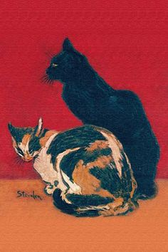 A painting of two cats.. High quality vintage art reproduction by Buyenlarge. One of many rare and wonderful images brought forward in time. I hope they bring you pleasure each and every time you look