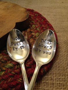 These hand stamped vintage coffee or tea spoon are imprinted with How Sweet It Is and To Be Loved By You. Theyd make a wonderful husband, wife, $30