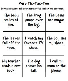 verb tic-tac-toe - could add some helping verbs to make it more challenging.