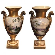 Painted And Golden Porcelain Vases, Early Century Porcelain Vase, Vases, 19th Century, Empire, Antiques, Home Decor, Porcelain, Antiquities, Antique
