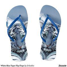 White Blue Tiger Flip Flops