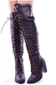 1d64946afa2d brown faux leather lace up long combat style with heel knee high long boots