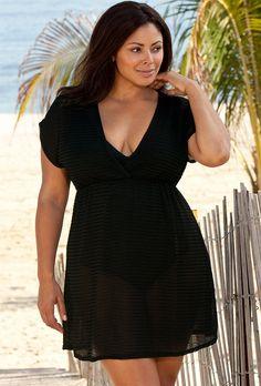 Beach Belle Black Chevron Plus Size Empire Tunic - swimsuitsforall