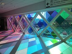 Colored glass, windows at Miami Airport, Florida (Paul McClure DC) Tags: architecture modern airport florida miami stainedglass miamidadecounty oct2013 vision:outdoor=0514