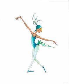 """Ballet Dance Art-Peter&TheWolf Ballet-BIRD-18""""x12"""" Print-Dancer-Blue Green-Bird Mask/Hat/FeatheryTail-Watercolor-WallArt Decor-Costume-Gift"""