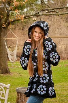 Link to my notes for this hooded sweater:  Free crochet pattern for this gem is found on the right hand side.