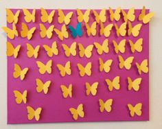 3D Handmade Yellow Butterflies with One Turquoise by LarlenDesigns