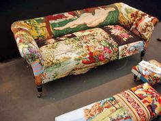 I may be crazy, but I love the patchworked needlepoint canvas upholstery.
