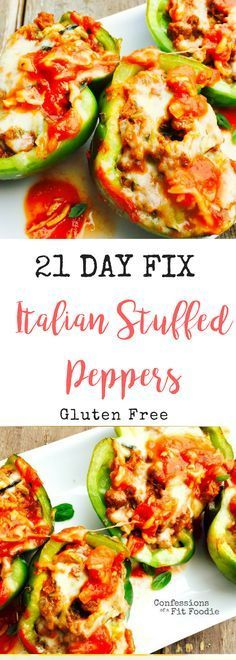 21 Day Fix Italian Stuffed Peppers - Confessions of a Fit Foodie - 21 Day Fix I. - 21 Day Fix Italian Stuffed Peppers – Confessions of a Fit Foodie – 21 Day Fix Italian Stuffed - 21 Day Fix Snacks, 21 Day Fix Diet, 21 Day Fix Meal Plan, Clean Eating Soup, Clean Eating Recipes, Healthy Eating, Healthy Recipes, 21dayfix Recipes, Soup Recipes