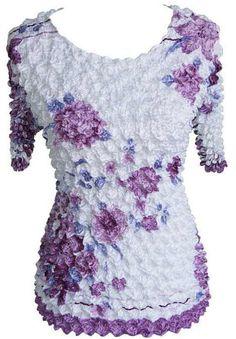 Lavender & White Floral Sleeve Popcorn Top Blouse Shirt New Popcorn Shirts, Shirt Blouses, Blouses For Women, Lavender, Lace, Floral, Sleeves, Shopping, Tops