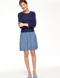 Woven Mix Dress WH898 Day Dresses at Boden