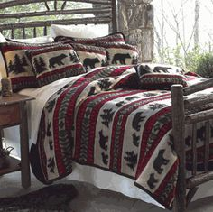 Ranch Cabin Mountain Bedding 50x60 Western Running Bear Fringed Throw Blanket