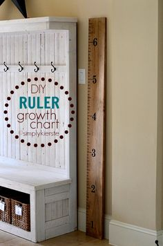 An adorable and EASY project, this Ruler Growth Chart is darling in a playroom, nursery, or decor. It's also a PERFECT Super Saturday project!