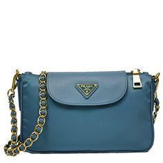 c1aaeca75c Prada Turquoise Blue Tessuto Saffiano Nylon Leather Chain Handle Crossbody Shoulder  Bag BT0779  Handbags  Amazon.com