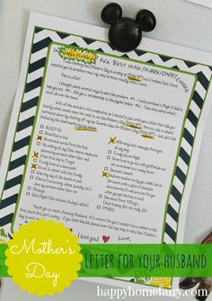 Give your husband this letter from happyhomefairy.com and you are SURE to have the BEST Mother's Day EVER. This is SO funny and SO helpful!!...