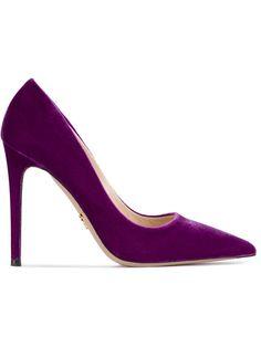 Prada Purple 120 Velvet Pumps In Pink Pointed Toe Pumps, Stiletto Heels, Stilettos, Velvet Shoes, Miuccia Prada, Purple Velvet, Nylon Bag, Prada Shoes, Prada Handbags