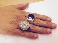 Freda's rings, the left one was made by blowing on the melting silver.