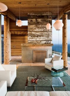 rustic fireplace + contemporary house