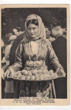 GREECE THASSOS THASOS COSTUME PHOTO DELANGLADE Vintage Pictures, Old Pictures, Greek Dress, Greek Costumes, Thasos, Greece Pictures, Greek History, Greek Culture, Folk Dance
