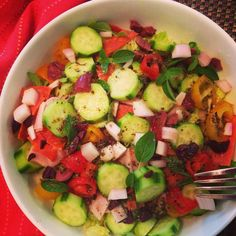 Greek Salad with a little #glutenfree #caseinfree @applegate pepperoni and #homemade Greek Dressing (#recipe #ontheblog) and mostly #organic veggies is one of my absolutely favorite lunches! http://theweeklymenubook.com/2015/03/11/greek-salad-homemade-dressing-glutenfree-caseinfree/