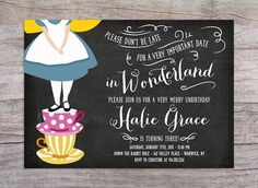 Alice in Wonderland Birthday Party Invitation by SprinklesByGracie