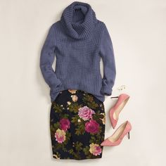 Proportional play! Pair a printed pencil skirt with a chunky cowl neck sweater. Accessorize with pointed pumps to elongate your stems.
