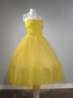 de4710ef8a Vintage 1950s Canary Yellow Tulle Net Prom Dress AS IS small flaw