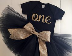 NEW cursive gold one black bodysuit with by PaisleyPrintsSpokane