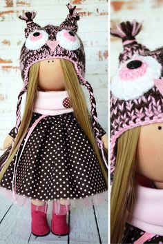 Tilda doll Owl doll Interior doll Art doll handmade pink black color Textile…