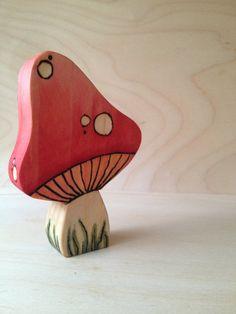 Lovely Red Wooden Mushroom  Waldorf & Montessori by SepAndAug, €7.15