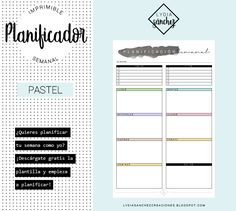 PLANIFICADOR SEMANAL 'PASTEL' Pastel, Bar Chart, Words, Bullet, Monthly Planner, Free Printable Calendar, Printable, Organizers, Day Planners