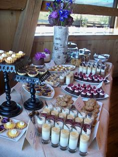 Wedding Food Wedding Dessert Table - not to this scale but this is the idea - If you're doing a totally DIY wedding, one of the biggest things for you to conquer will be the menu. One great option is to go with a dessert and coffee wedding menu. Diy Wedding Menu, Wedding Desserts, Mini Desserts, Wedding Cakes, Wedding Ideas, Dessert Bar Wedding, Table Wedding, Trendy Wedding, Buffet Dessert